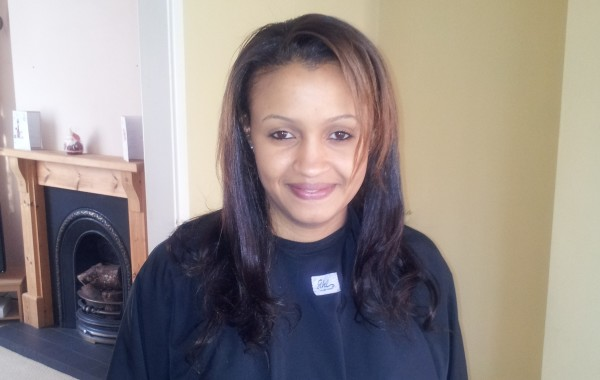 Weft extensions on relaxed hair