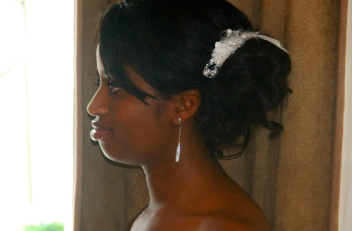 Bridal hair style, side fringe cut